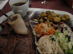 auberge de neuland boiled beef with bone marrow and crudite